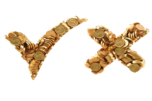 What gold jewelry do we accept? Checkmark and X sign - cash for gold jewelry store