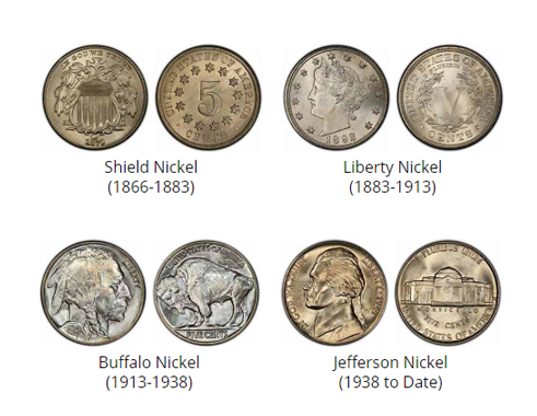 Examples of historical Nickels - coin buyers near me