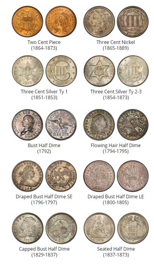 Examples of Two Cent, Three Cents and Half dimes - coin buyers near me