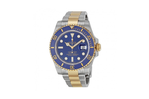 Blue rolex watch with gold highlights - luxury watch buyers
