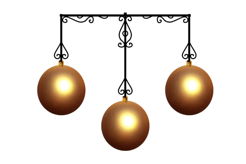 Gold ornamental balls on a metal frame - pawn shop services